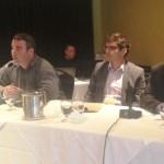M. Dominic Arsenault (IGA Coaticook), M. Jean-Sébastien Plourde (MFEQ) et M. Dean Di Maulo participaient au panel sur la commercialisation du cidre québécois.